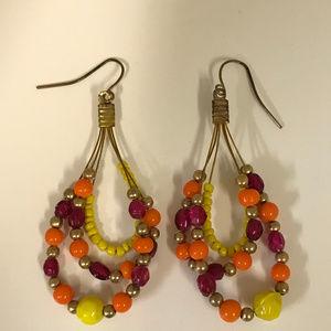 Jewelry - Triple Beaded Loop Gold Tone Earrings